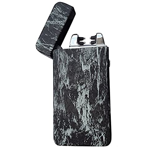 SHUNING Dual Arc Electronic USB Lighter - FASTER - STRONGER - SAFER - Rechargeable Wind-Proof & Flameless, Cigarette Lighter, USB Cable, Gift Box (Black)