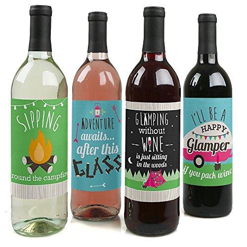 Let 's Go glamping-Camp glamp Party oder Geburtstag Party Wein Flasche Label Aufkleber-Set von 4