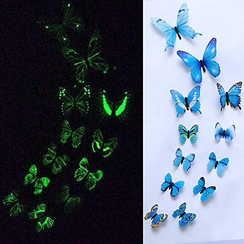 Schmetterling Abnehmbare Stück 3D Wand Deko für Babyzimmer Kinderzimmer Möbel Wohnaccessoires PVC Aufkleber entfernbares Fluoreszenz ()
