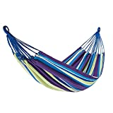 Baobei Hängematten-Schwingen-Bett im Freien mit Hartholz-Spreizer-Bar-Baum, der Bunte Streifen für kampierenden Patio-Yard-Strand hängt (Farbe : Purple)