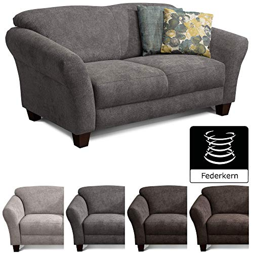 CAVADORE 2-Sitzer Gootlaand / Großes Sofa im Landhausstil / Mit Federkern / 163 x 89 x 84 / Grau