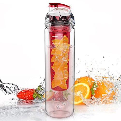 AVOIN colorlife Trinkflasche für Fruchtschorlen, 800ml, Tritan, verschiedene Farben erhältlich, BPA-frei rot rot