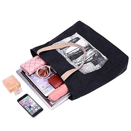 BYD - Donna Grande tela di canapa Fiore di stampa Tote Borsa Borsa a tracolla Handbag Brown