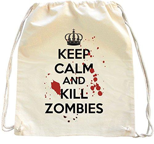 Mister Merchandise Zaino Borsa Sacco Keep Calm and Kill Zombies , Colore: Naturale