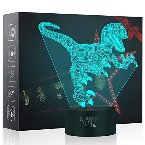 3D Nachtlicht, Velociraptor LED Lampe, Baby Schlafzimmer Schlaf Lichter, 7 Farben Touch Tischleuchte, Dinosaurier Spielzeug das Beste Weihnachtsgeschenk für Kinder
