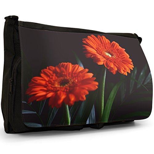 Fancy A Bag Borsa Messenger nero Daisy Vibrant Red Flowers