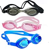 Crystal Clear Comfortable Swimming Goggles Professional Anti Fog No Leaking UV Protection Wide View Swim Goggles With Ear Plugs For Women Men Adult Youth Kids (Pack Of 3) By R.P.M Sports