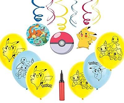 Pokemon Party Decoration Kit Celebraciones de cumpleaños para niños Set de Globos de Pokémon y remolinos Colgante de Pokemon Activity Set