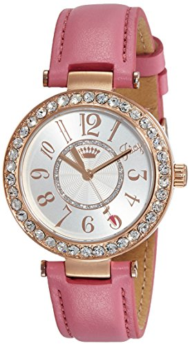 Juicy Couture Cali Women's Quartz Watch with Silver Dial Analogue Display and Pink Leather Strap 1901398