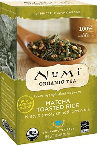 Numi Organic Tea Toasted Rice Sencha, 18 Bags, Organic Green Tea in Non-GMO Biodegradable Tea Bags, Premium Bagged Organic Green Tea, Organic Sencha with Toasted Rice