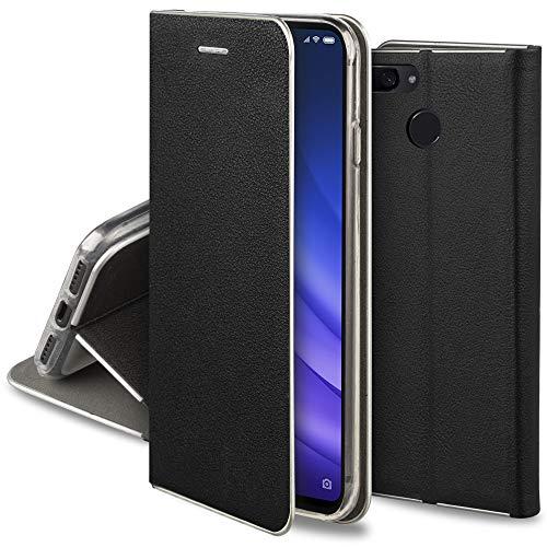 Moozy Funda con Tapa para Xiaomi Mi 8 Lite, de Cuero PU Negro - Elegante Flip Cover con Bordes Metalizados de Protección, Soporte y Tarjetero