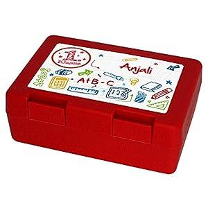 Brotdose mit Namen Anjali und 1. Klasse-Motiv zur Einschulung, für Mädchen, rot - Brotbox - Vesperdose - Vesperbox - Brotzeitdose mit Vornamen