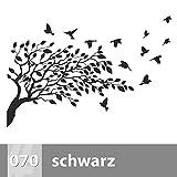 Baum mit Vögel Wandtattoo 115cm x 78cm, XL, 070 schwarz