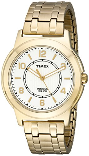 Timex Men's TW2P62000 Bank Street Gold-Tone Stainless Steel Expansion Band Watch (Indiglo Uhr)