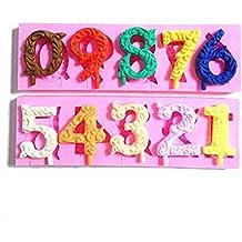 Wocuz número y letras serie silicona molde para hacer velas jabón molde DIY Craft molde para tartas Top decoración