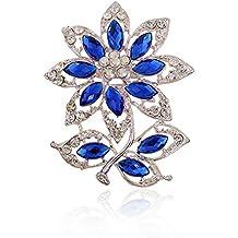 CAOLATOR Broches Estilo Flores de Mujer de Cristales Ropa Broches Moda Decoración del Partido Alfiler Para
