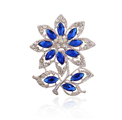 Hosaire 1X Fashion Elegant Diamond Pearl Rose Wedding Bridal Brooch Pin Rhinestone Covered Scarves Shawl Clip For women's Ladies Jewelry(Blue)