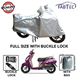 Fabtec Premium Quality Silver Scooty Body Cover with Buckle Lock & Storage Bag for Tvs Jupiter