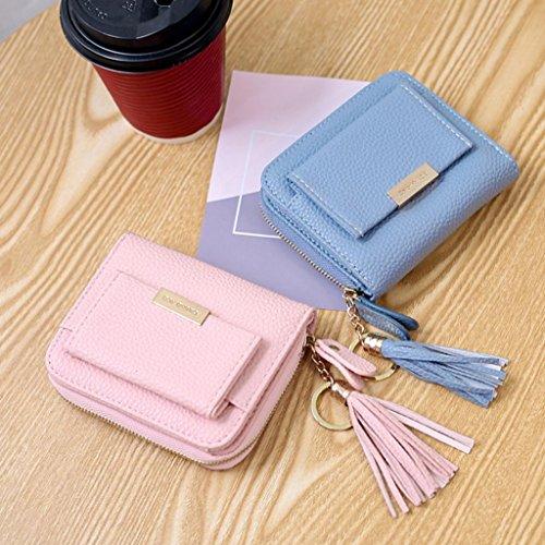 Fuibo Frauen Cardbag Kleine Troddel Anhänger Kurz Geld Geldbörse Reißverschluss Tasche Geldbörsen Mode E