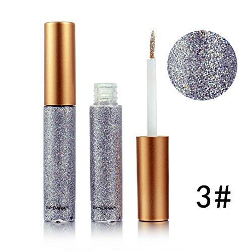 Anwenden Von Eyeliner (Weisy Eyeliner Glitzer Wasserdicht Schimmer Pigment Silber Gold Metallic Liquid Glitters Eyeliner 10 Farben)