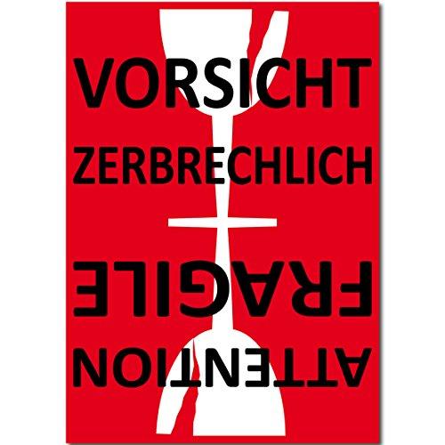 15cm Aufkleber Sticker Etiketten Label Vorsicht Glas zerbrechlich Attention Fragile Versand Umzug Paket (50) - Fragile Glas