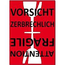 15cm Aufkleber Sticker Etiketten Label Vorsicht Glas zerbrechlich Attention Fragile Versand Umzug Paket (25)