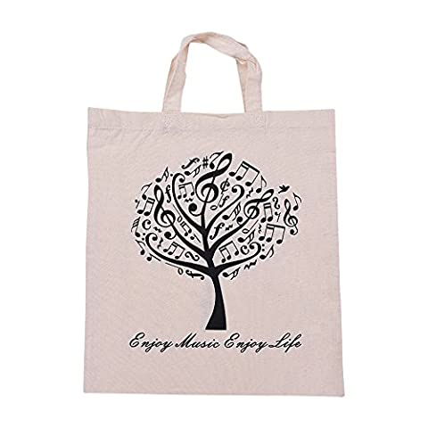 ammoon Washable Cotton Fabric Musical Tree Music Tote Grocery Shopping Bag Shoulder Bag for students Girls