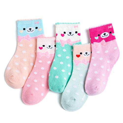 Lamdgbway 5 Paar Pack Mädchen Kinder Crew Socken Baumwolle Warmes Kleinkind Socken Lächelndes Gesicht Medium (4-6) (Paar Crew-4 Pack)