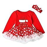 Xinan Mädchen Kleider Kleinkind Princess Letter Dot Tutu Dress Weihnachten Outfits Set (70, Rot)