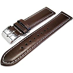 Brown Genuine Leather Padded Watch Strap Band 20mm