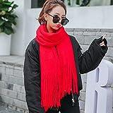 Colore solido flusso, Sig.ra _ sciarpa in autunno e inverno lungo, sciarpa calda dello Studente | inverno sciarpa ,rododendro rosso