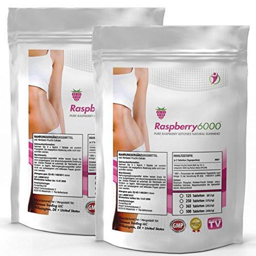 RASPBERRY 6000 | 6000 mg Tagesdosierung - 1000 Tabletten (2x 500) Großpackung XL für über 300 Tage | Vegan + Hochdosiert | 100% Himbeere Ketone Extrakt Fatburner | + Diät-Ergänzung + Stoffwechsel