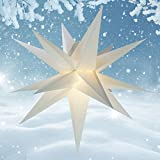 55 cm - Außenstern - Komplettset incl. Kabel & Glühbirne Outdoor Adventsstern Weihnachtsstern 3D Faltstern 15 Zacken weiß