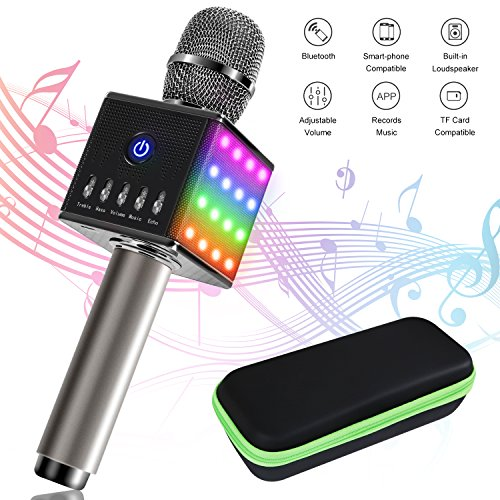 Tonor Bluetooth Karaoke Mikrofon mit Lautsprecher; Multifunktionell Tragbar Drahtlos Microphone für Karaoke Party Podcast Sprach- und Gesangsaufnahmen, kompatibel mit Android /IOS PC Laptop (Grau mit Laterne)