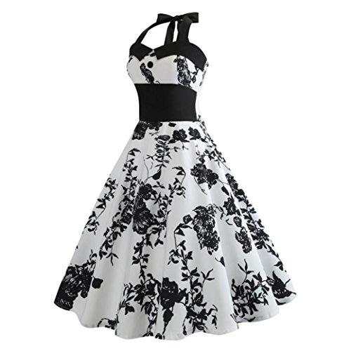 Jaminy Kleid 50er Jahre Rockabilly Damen Vintage Blumendruck Plaid Bodycon Ärmellos Casual Abend Prom Swing Kleid Röcke Petticoat (S~XXL) (XL)