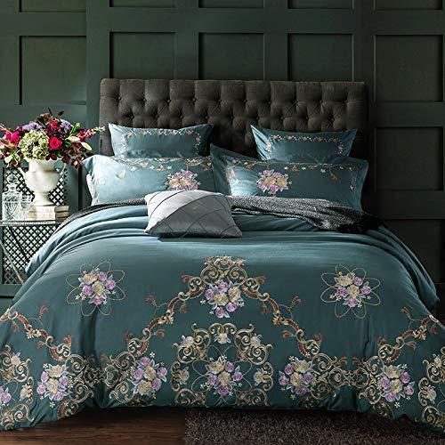 XULIM Bettwäschesatz von Vier Gestickte Bettwäsche Set 60S ägyptischer Baumwolle Seidig 4 Stück Bettbezüge Bettlaken, König, 220 * 240cm