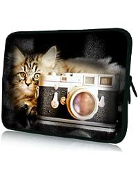 Luxburg® design housse sacoche pochette pour ordinateur portable 17,3 pouces, motif: Chat avec appareil photo