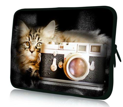 Luxburg® Design Laptoptasche Notebooktasche Sleeve für 15,6 Zoll, Motiv: Katze mit Kamera