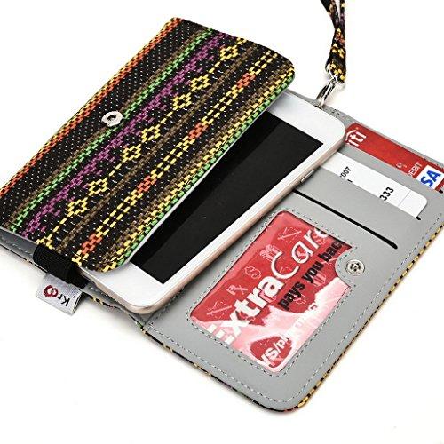 Kroo Étui avec porte-cartes compatible avec dragonne de transport pour téléphone portable lava Iris Pro 30+/450couleur bleu jaune