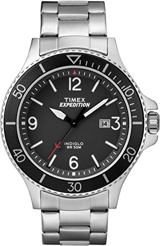 Timex TW4B10900 Montre pour homme à quartz, affichage classique analogique et bracelet en acier inoxydable