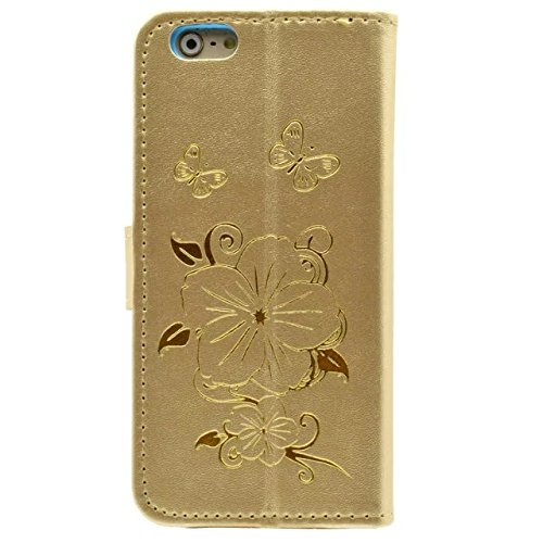 Wkae Case Cover Fleurs Butterfly Gilding Pattern Case Portefeuille Stand Case Horizontal Flip Case PU Housse en cuir TPU pour IPhone 6S 5,5 pouces ( Color : Gold , Size : IPhone 6S 5.5 Inch ) Gold