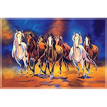 Seven Running Horses Painting HD Print Wall Poster Canvas for Home vastu 135 cm x 90 cm