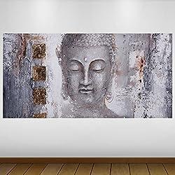EXTRA GRANDE Gray Stone Buda Religión Vinilo Póster - Mural Decoración - etiqueta de la pared -140cm x 70cm