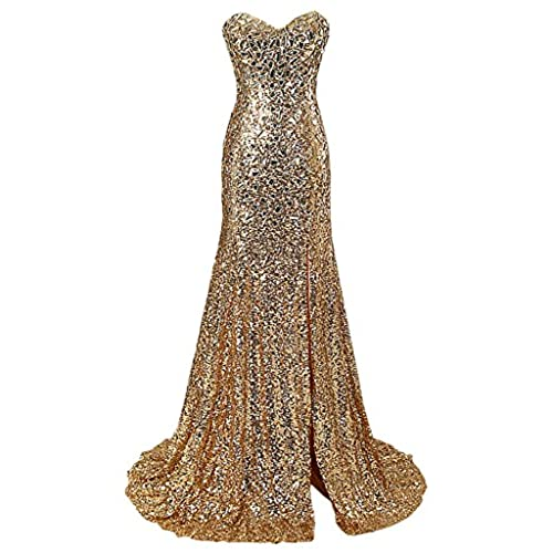 Abendkleider Lang Gold: Amazon.de
