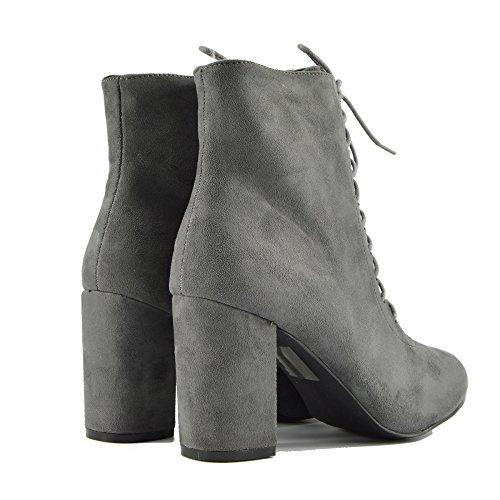 Kick Footwear Donna con Tacco Caviglia, Zip Laterale Stivali in Pizzo Casual Tacco Grosso Scarpe Grigio