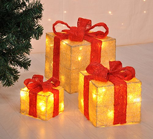 LED Deko Geschenk Boxen - 3er Set inkl. Timer Funktion - Weihnachts Dekoration Weihnachtsdeko Geschenke