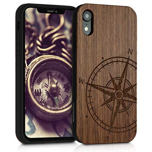 kwmobile Holz Schutzhülle für Apple iPhone XR - Hardcase Hülle mit TPU Bumper Walnussholz in Kompass Vintage Design Dunkelbraun - Handy Case Cover
