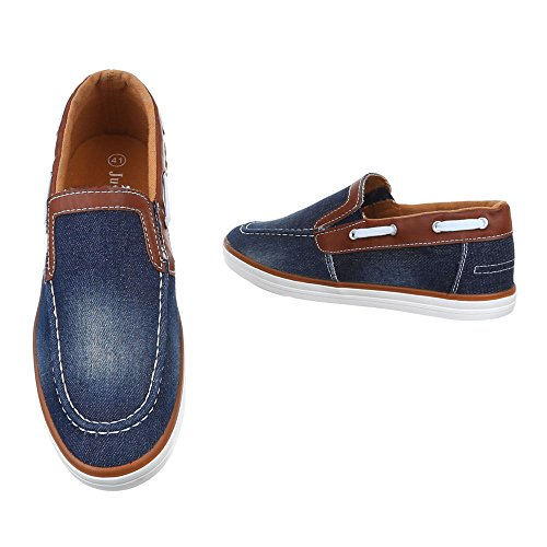 Ital-Design - Pantofole Uomo Blu/Marrone