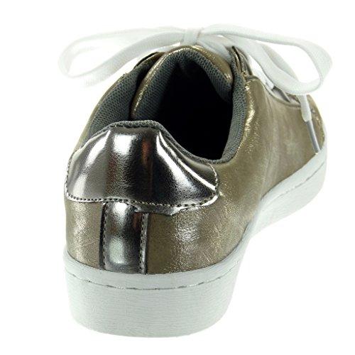 Angkorly - Scarpe da Moda Sneaker Tennis donna verniciato Tacco tacco piatto 2.5 CM Grigio