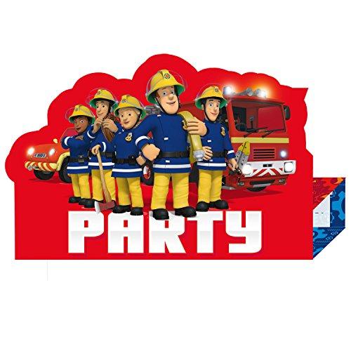 feuerwehrmann sam geburtstag et Feuerwehr Mann Sam Kindergeburtstag Einladungskarten 8 Stück inkl. Umschlag amscan 9902184